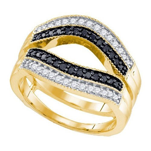 10K Yellow Gold Jewelry 0.55 ctw White Diamond & Black