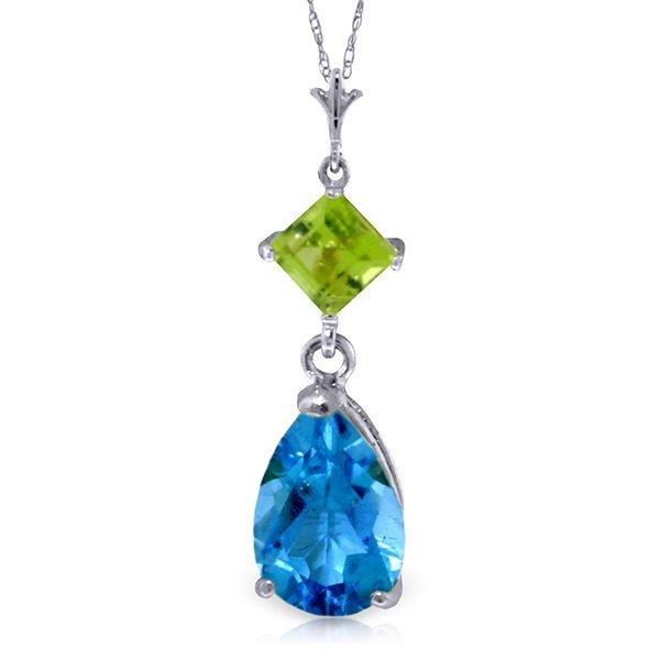 Genuine 2 ctw Blue Topaz & Peridot Necklace Jewelry