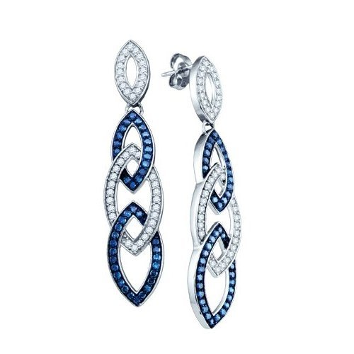 10K White Gold Jewelry 1.6 ctw White Diamond & Blue