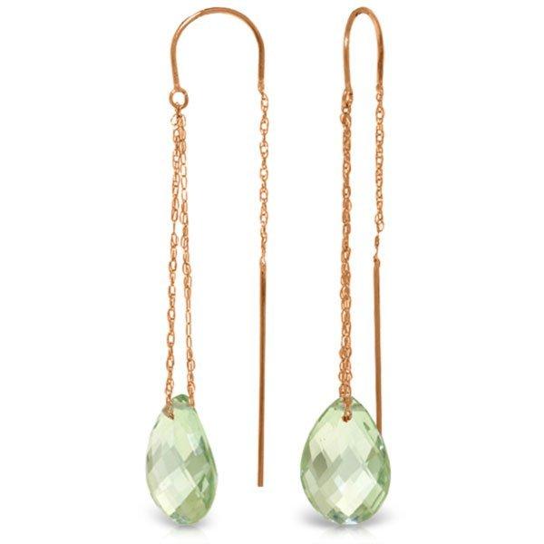 Genuine 6 ctw Green Amethyst Earrings Jewelry 14KT Rose