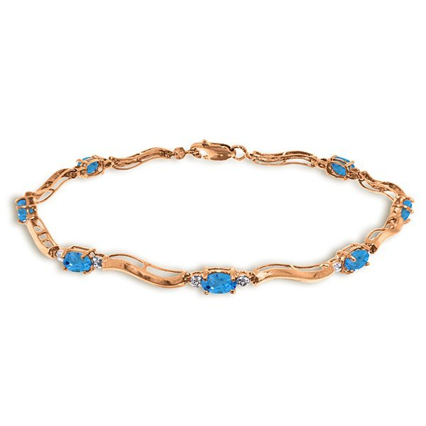 Genuine 2.16 ctw Blue Topaz & Diamond Bracelet Jewelry