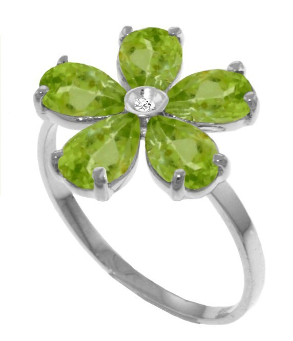 Genuine 2.22 ctw Peridot & Diamond Ring Jewelry 14KT