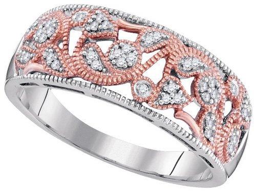 10K 2Tone Gold Jewelry 0.10 ctw Diamond Ladies Ring -