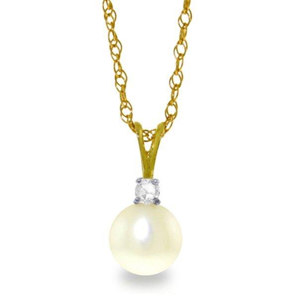 Genuine 2.05 ctw Pearl & Diamond Necklace Jewelry 14KT