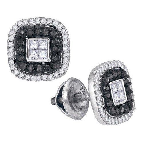 10K White Gold Jewelry 0.50 ctw White Diamond & Black