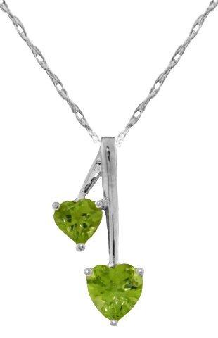 Genuine 1.4 ctw Peridot Necklace Jewelry 14KT White