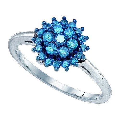 10K White Gold Jewelry 0.45 ctw White Diamond & Blue