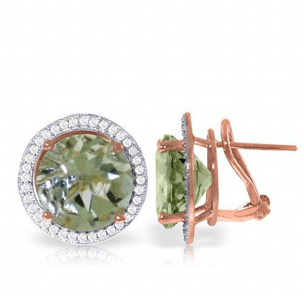Genuine 10.4 ctw Green Amethyst & Diamond Earrings