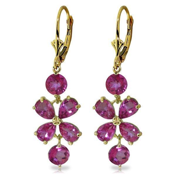 Genuine 5.32 ctw Pink Topaz Earrings Jewelry 14KT