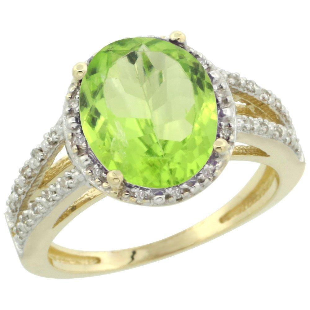 Natural 3.86 ctw Peridot & Diamond Engagement Ring 10K