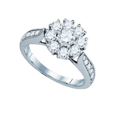 14K White Gold Jewelry 1.51 ctw Diamond Ladies Ring -