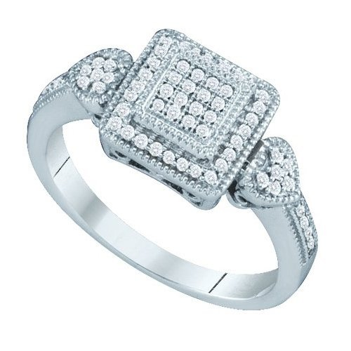 10K White Gold Jewelry 0.20 ctw Diamond Ladies Ring -