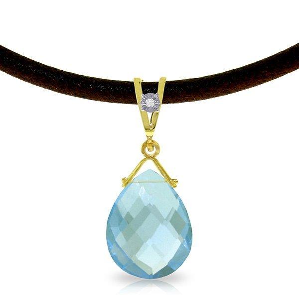 Genuine 6.51 ctw Blue Topaz & Diamond Necklace Jewelry