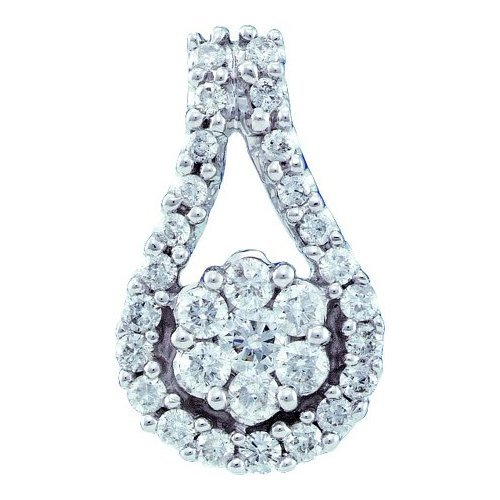 14K White Gold Jewelry 0.51 ctw Diamond Pendant -