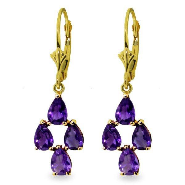 Genuine 3 ctw Amethyst Earrings Jewelry 14KT Yellow