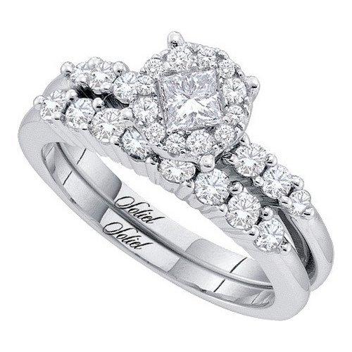 14K Yellow Gold Jewelry 1.0 ctw Diamond Bridal Ring Set