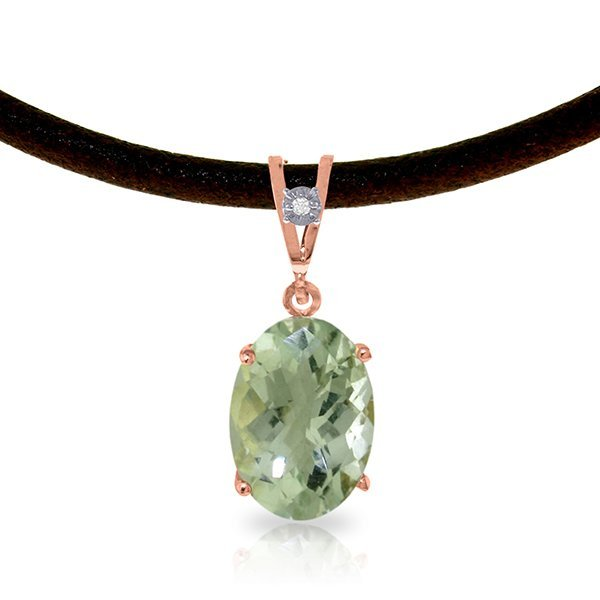 Genuine 7.56 ctw Green Amethyst & Diamond Necklace