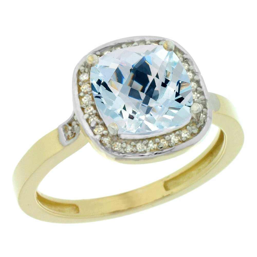 Natural 3.94 ctw Aquamarine & Diamond Engagement Ring