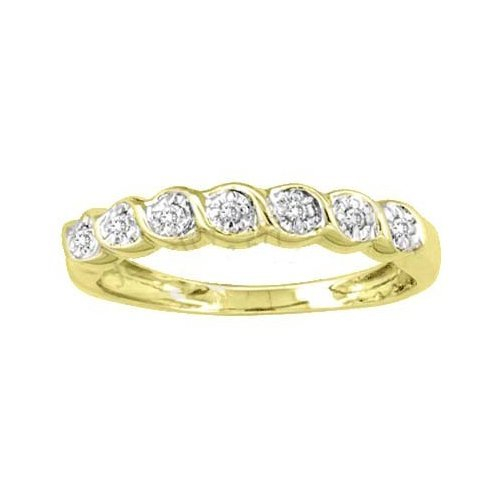 10K Yellow Gold Jewelry 0.08 ctw Diamond Ladies Ring -
