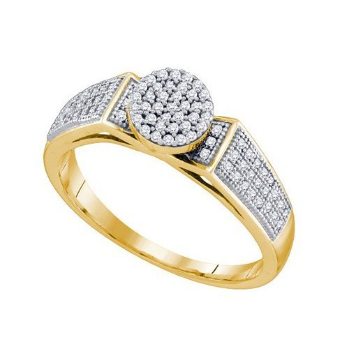 10K Yellow Gold Jewelry 0.25 ctw Diamond Ladies Ring -