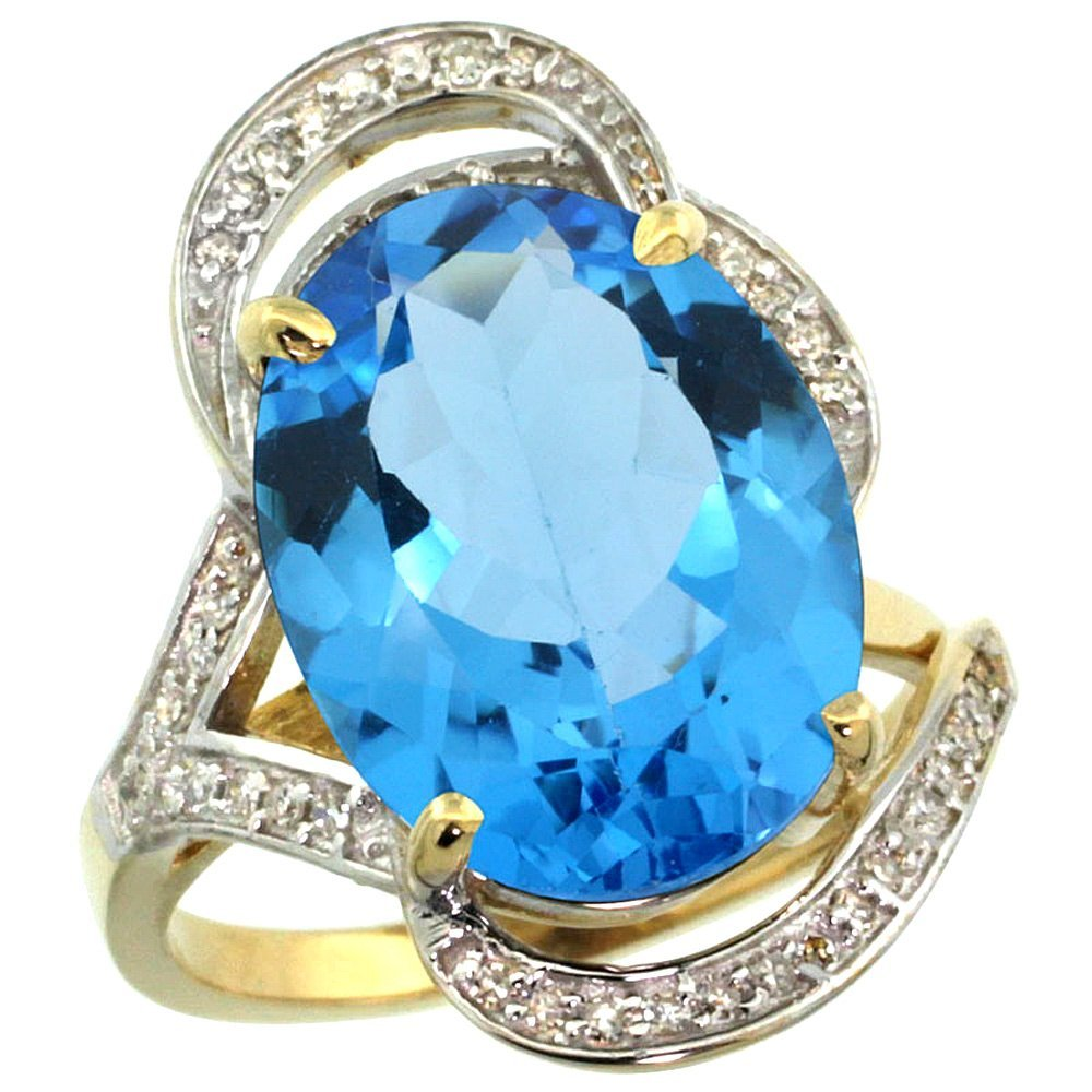 Natural 11.23 ctw swiss-blue-topaz & Diamond Engagement