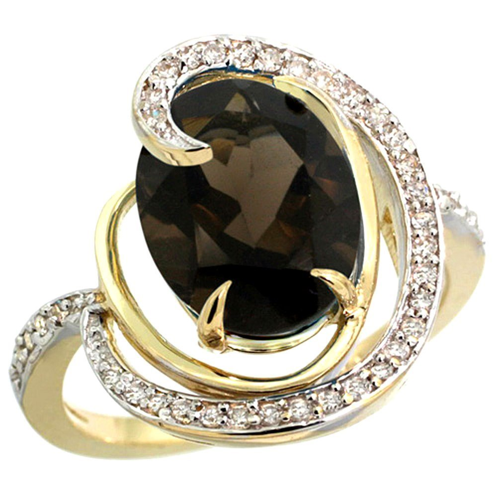 Natural 6.53 ctw smoky-topaz & Diamond Engagement Ring