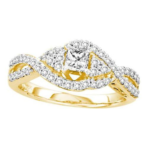 14K Yellow Gold Jewelry 0.75 ctw Diamond Bridal Ring -