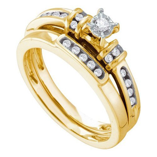 14K Yellow Gold Jewelry 0.20 ctw Diamond Bridal Ring