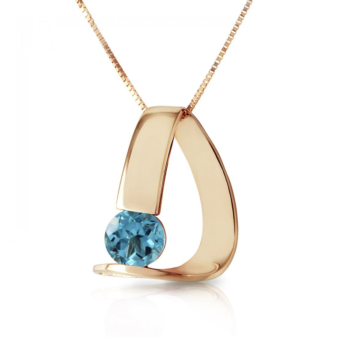 Genuine 1 ctw Blue Topaz Necklace Jewelry 14KT Yellow