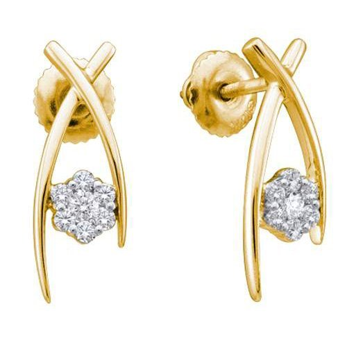 14K Yellow Gold Jewelry 0.24 ctw Diamond Earrings -