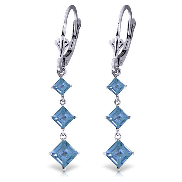 Genuine 4.79 ctw Blue Topaz Earrings Jewelry 14KT White