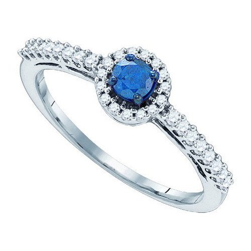 10K White Gold Jewelry 0.42 ctw White Diamond & Blue