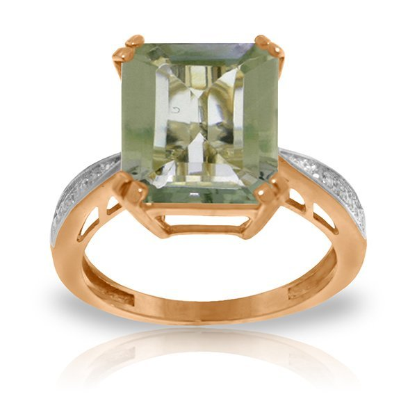 Genuine 5.62 ctw Green Amethyst & Diamond Ring Jewelry