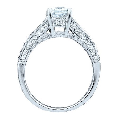 14K White Gold Jewelry 1.5 ctw Diamond Bridal Ring -