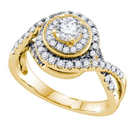 14K Yellow Gold Jewelry 1.0 ctw Diamond Bridal Ring -