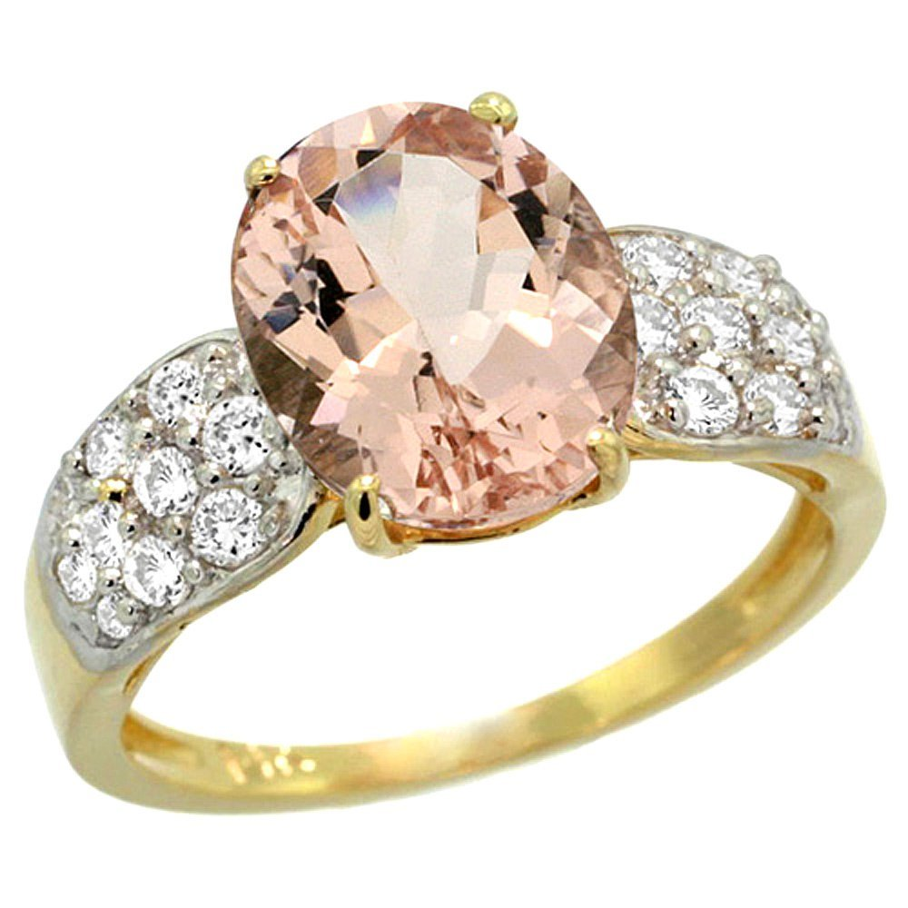 Natural 3.25 ctw morganite & Diamond Engagement Ring
