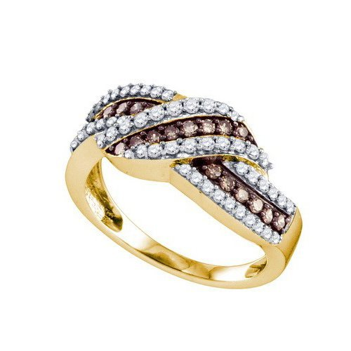 10K Yellow Gold Jewelry 0.75 ctw White Diamond & Cognac