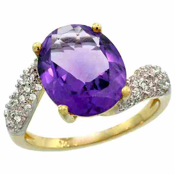 Natural 6.45 ctw amethyst & Diamond Engagement Ring 14K
