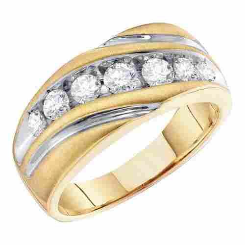 10K Yellow Gold Jewelry 1.0 ctw Diamond Men's Ring -