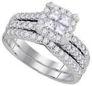 14K White Gold Jewelry 1.25 ctw Diamond Bridal Ring Set