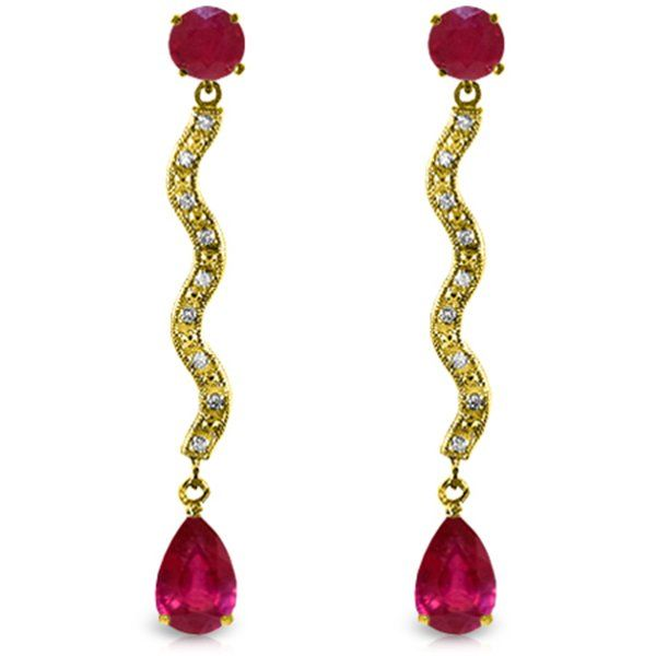 Genuine 4.35 ctw Ruby & Diamond Earrings Jewelry 14KT
