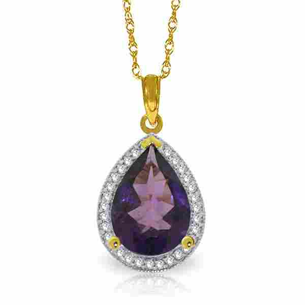 Genuine 3.41 ctw Amethyst & Diamond Necklace Jewelry