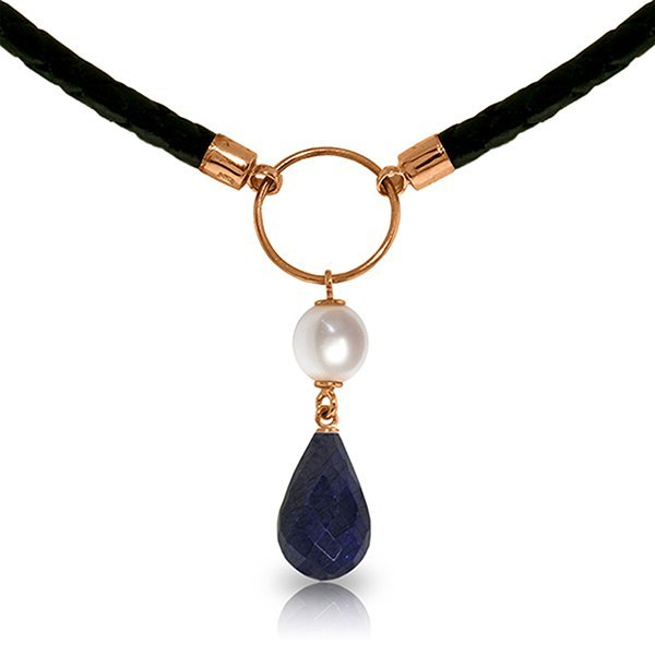 Genuine 10.8 ctw Sapphire & Pearl Necklace Jewelry 14KT