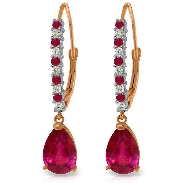 Genuine 3.35 ctw Ruby & Diamond Earrings Jewelry 14KT