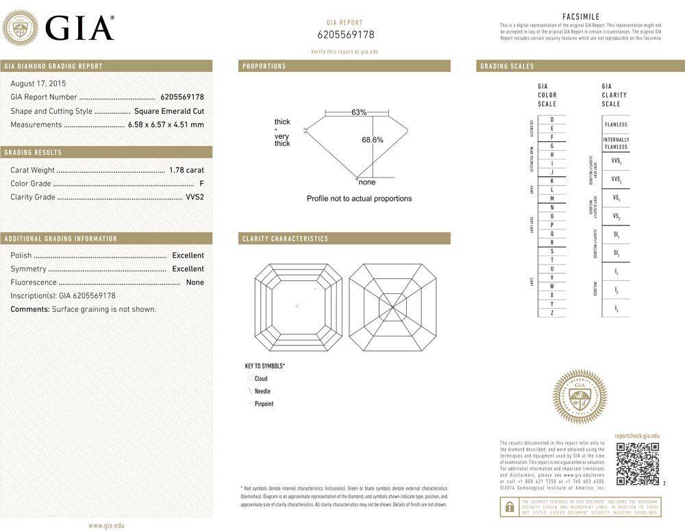 1.78ct F/VVS2 Square Emerald cut GIA Certified Diamond
