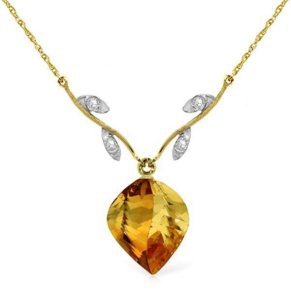Genuine 11.77 ctw Citrine & Diamond Necklace Jewelry