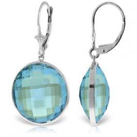 Genuine 46 Ctw Blue Topaz Earrings Jewelry 14kt White