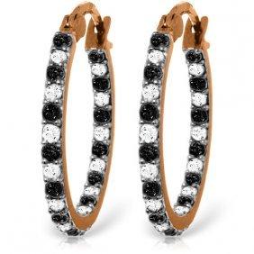Genuine 0.81 Ctw White & Black Diamond Earrings Jewelry