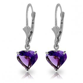 Genuine 3.25 Ctw Amethyst Earrings Jewelry 14kt White