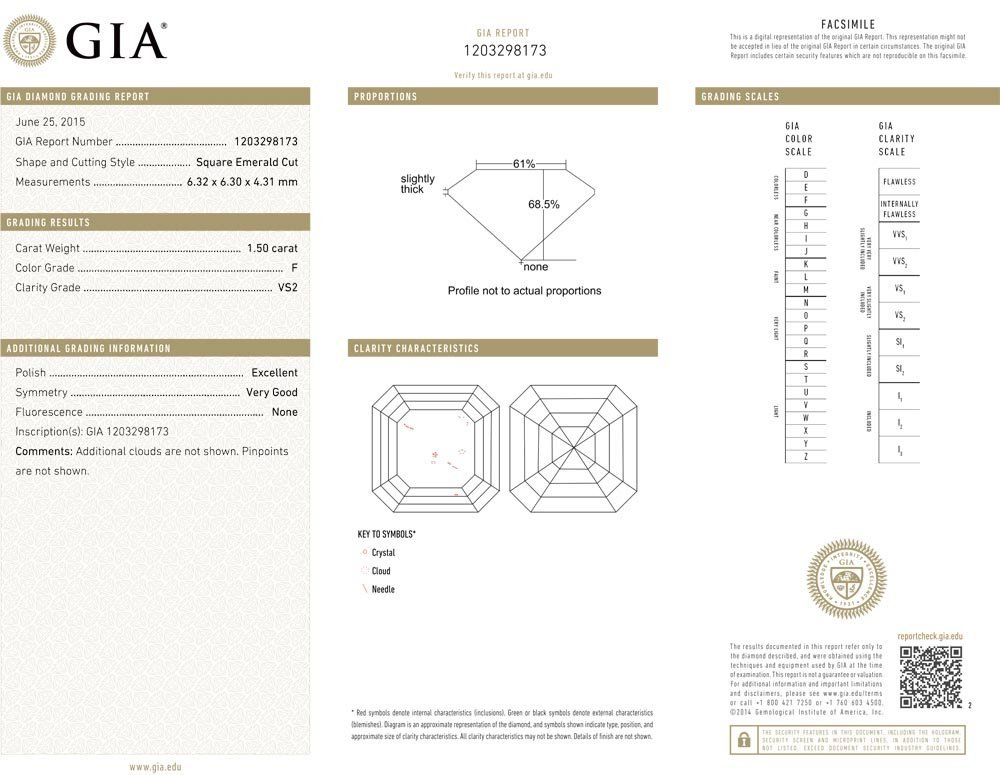 1.50ct F/VS2 Square Emerald cut GIA Certified Diamond